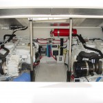 Sport fishing boat engine compartment.